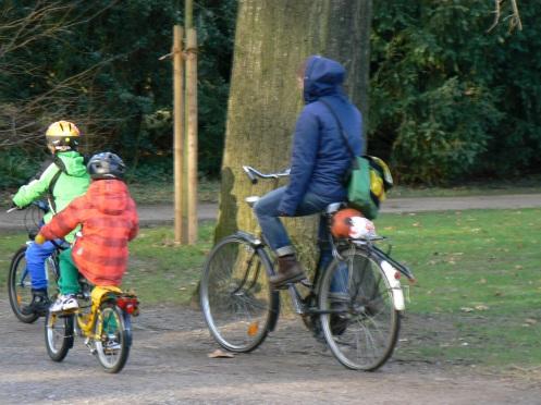 trong một công viên để cuối tuần cùng các cháu đi xe dạp ...