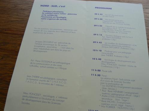 Và đây là chương trình của buổi ấy, với danh sách của những người góp ý tham luận ...