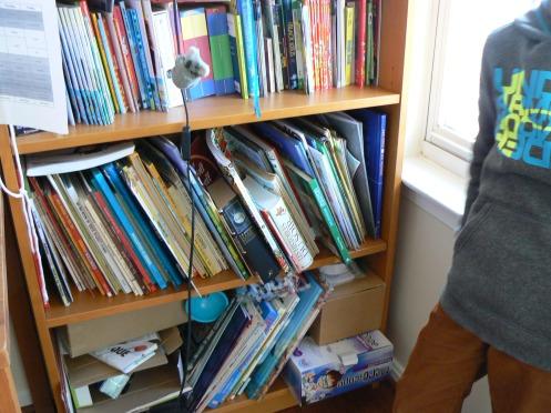 Và đây là tủ sách của một cháu lên 8